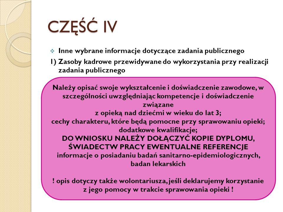 CZĘŚĆ IV Inne wybrane informacje dotyczące zadania publicznego