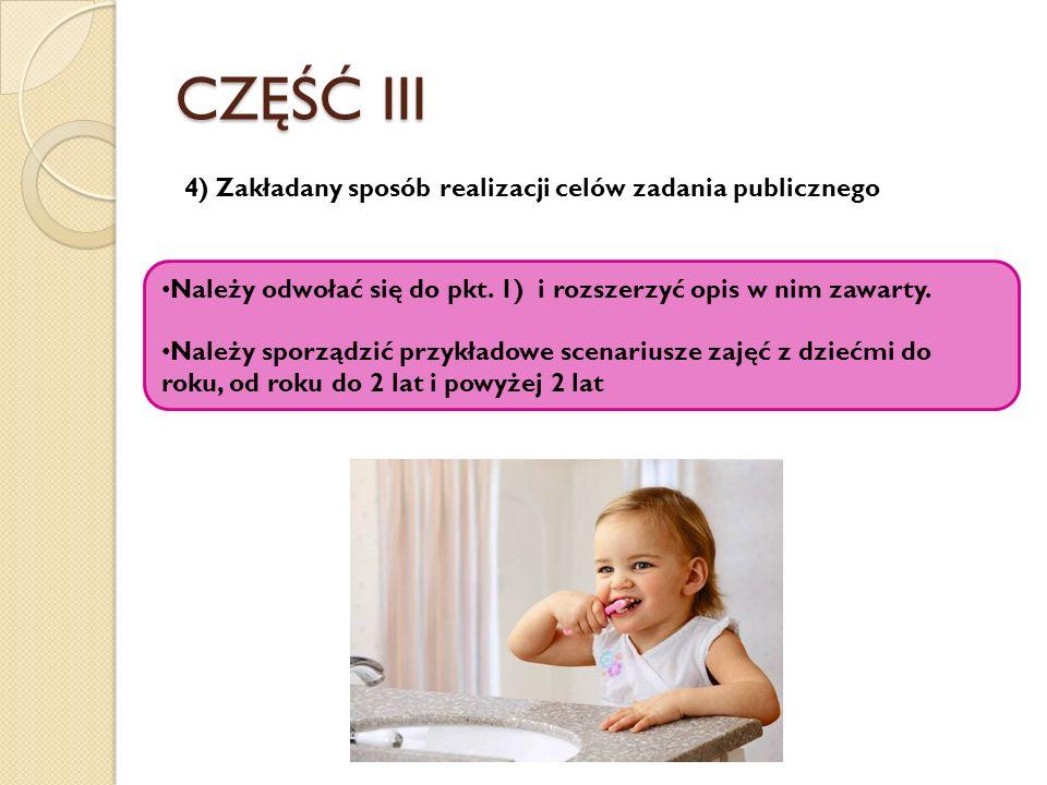 CZĘŚĆ III 4) Zakładany sposób realizacji celów zadania publicznego