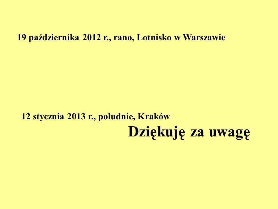 Dziękuję za uwagę 19 października 2012 r., rano, Lotnisko w Warszawie
