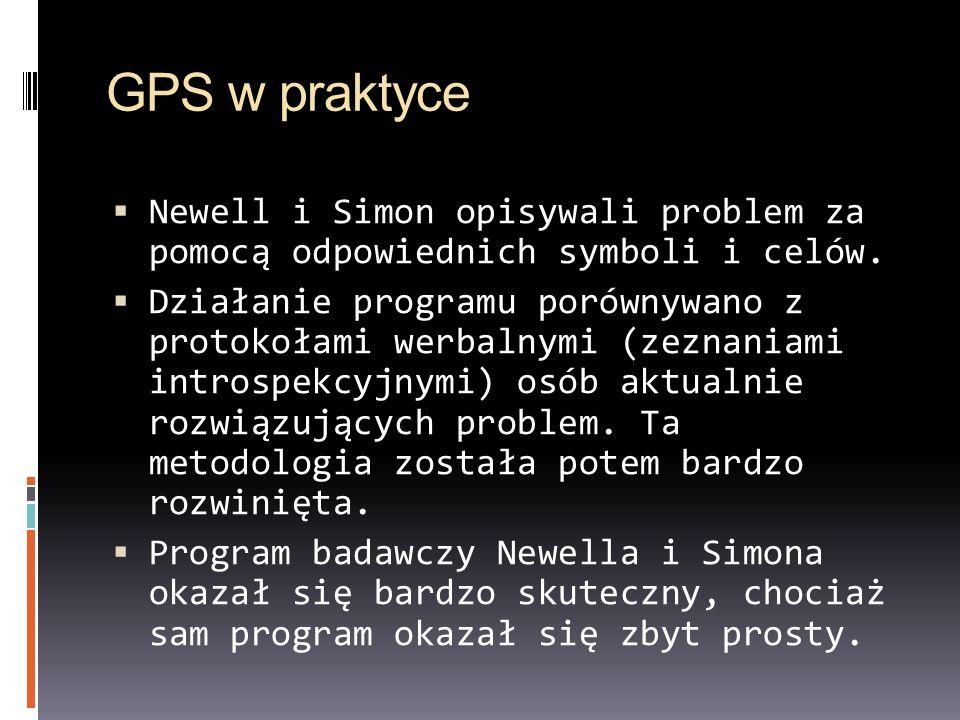 GPS w praktyce Newell i Simon opisywali problem za pomocą odpowiednich symboli i celów.