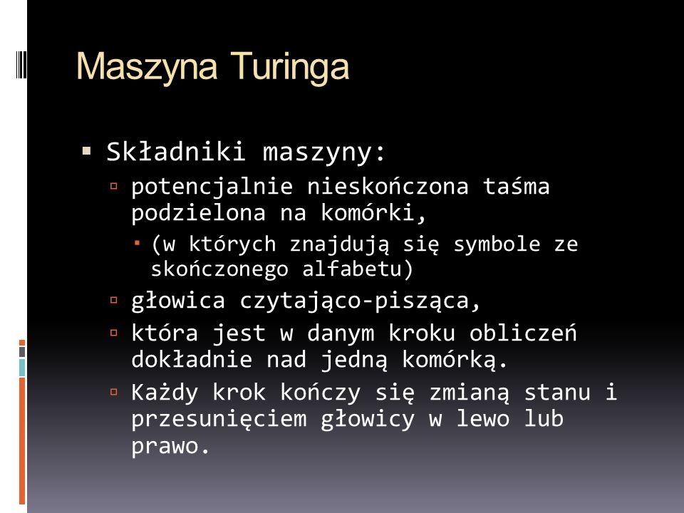 Maszyna Turinga Składniki maszyny: