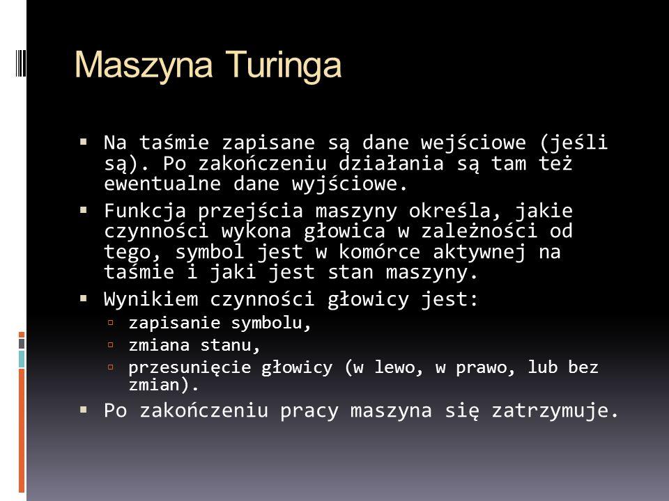 Maszyna Turinga Na taśmie zapisane są dane wejściowe (jeśli są). Po zakończeniu działania są tam też ewentualne dane wyjściowe.
