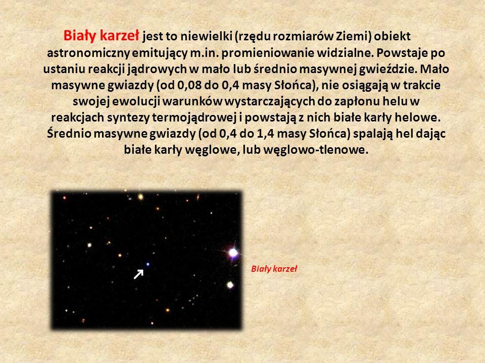 Biały karzeł jest to niewielki (rzędu rozmiarów Ziemi) obiekt astronomiczny emitujący m.in. promieniowanie widzialne. Powstaje po ustaniu reakcji jądrowych w mało lub średnio masywnej gwieździe. Mało masywne gwiazdy (od 0,08 do 0,4 masy Słońca), nie osiągają w trakcie swojej ewolucji warunków wystarczających do zapłonu helu w reakcjach syntezy termojądrowej i powstają z nich białe karły helowe. Średnio masywne gwiazdy (od 0,4 do 1,4 masy Słońca) spalają hel dając białe karły węglowe, lub węglowo-tlenowe.