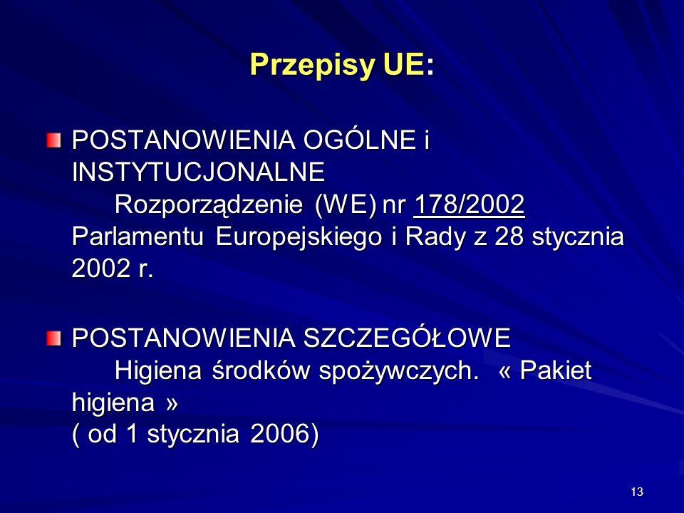 Przepisy UE: POSTANOWIENIA OGÓLNE i INSTYTUCJONALNE Rozporządzenie (WE) nr 178/2002 Parlamentu Europejskiego i Rady z 28 stycznia 2002 r.