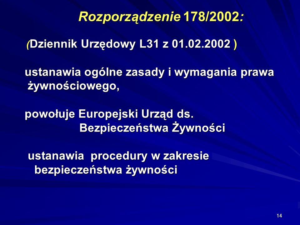Rozporządzenie 178/2002: (Dziennik Urzędowy L31 z 01. 02