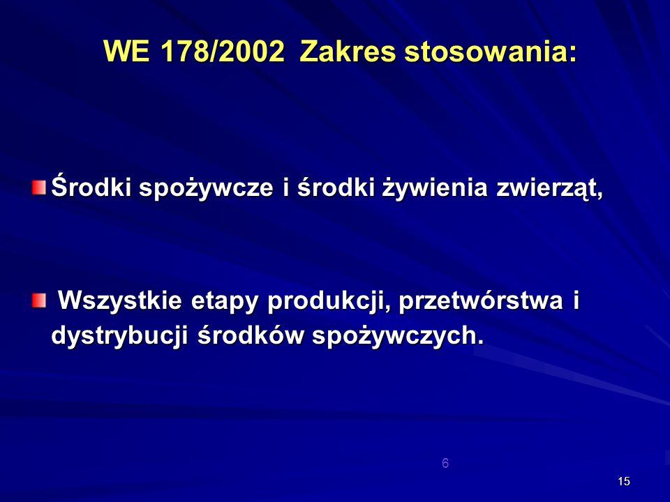 WE 178/2002 Zakres stosowania: