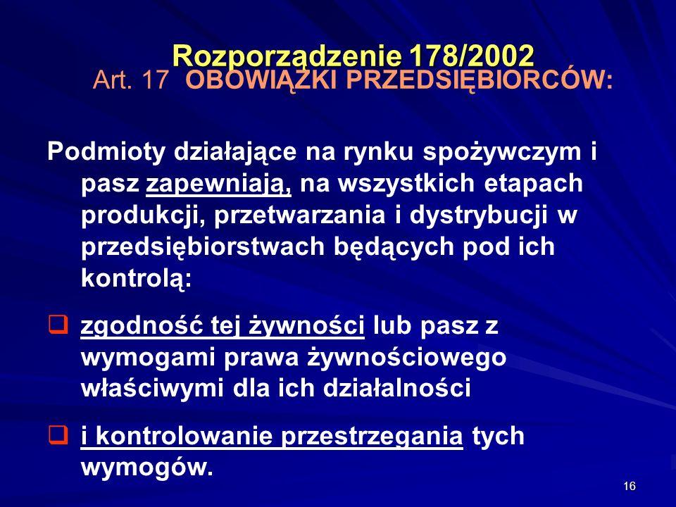 Rozporządzenie 178/2002 Art. 17 OBOWIĄZKI PRZEDSIĘBIORCÓW: