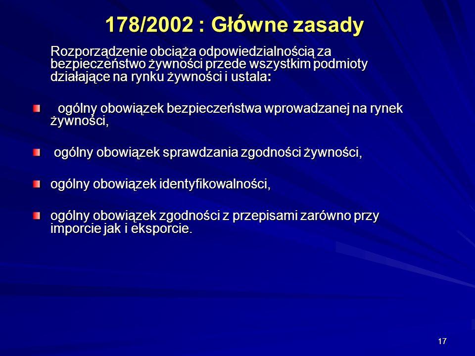 178/2002 : Główne zasady