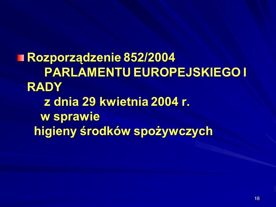 Rozporządzenie 852/2004. PARLAMENTU EUROPEJSKIEGO I RADY