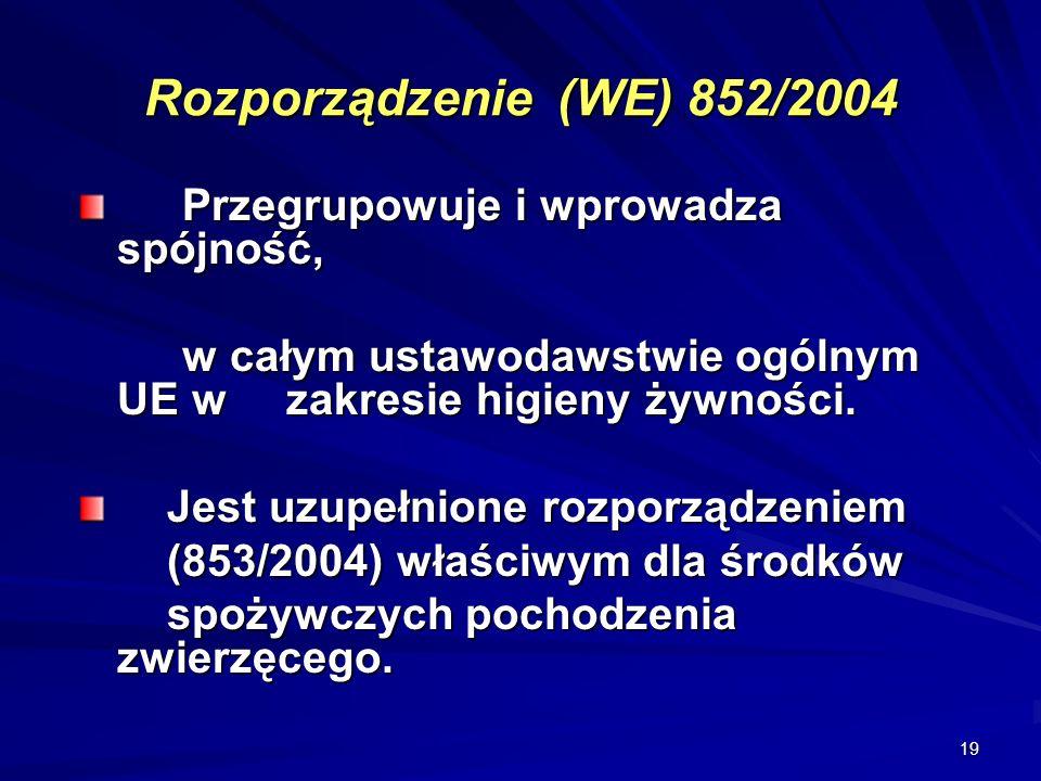 Rozporządzenie (WE) 852/2004 Przegrupowuje i wprowadza spójność,