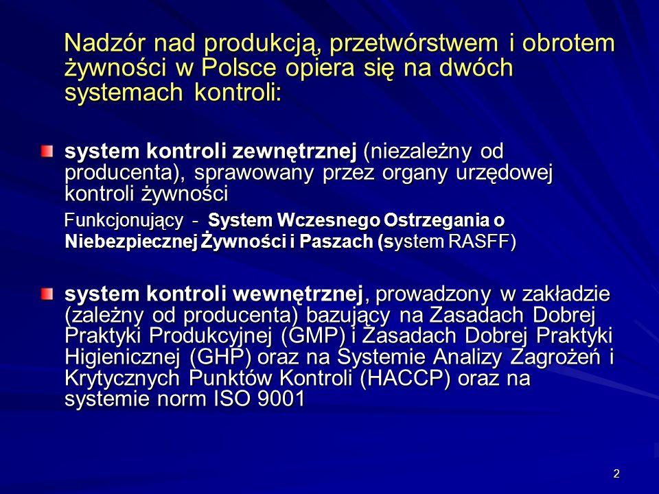 Nadzór nad produkcją, przetwórstwem i obrotem żywności w Polsce opiera się na dwóch systemach kontroli: