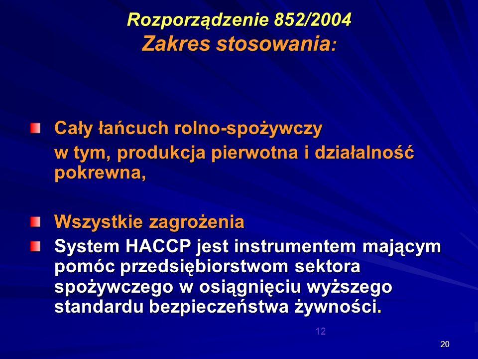 Rozporządzenie 852/2004 Zakres stosowania: