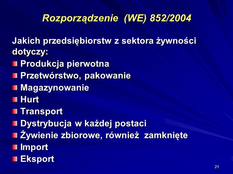 Rozporządzenie (WE) 852/2004 Jakich przedsiębiorstw z sektora żywności dotyczy: Produkcja pierwotna.