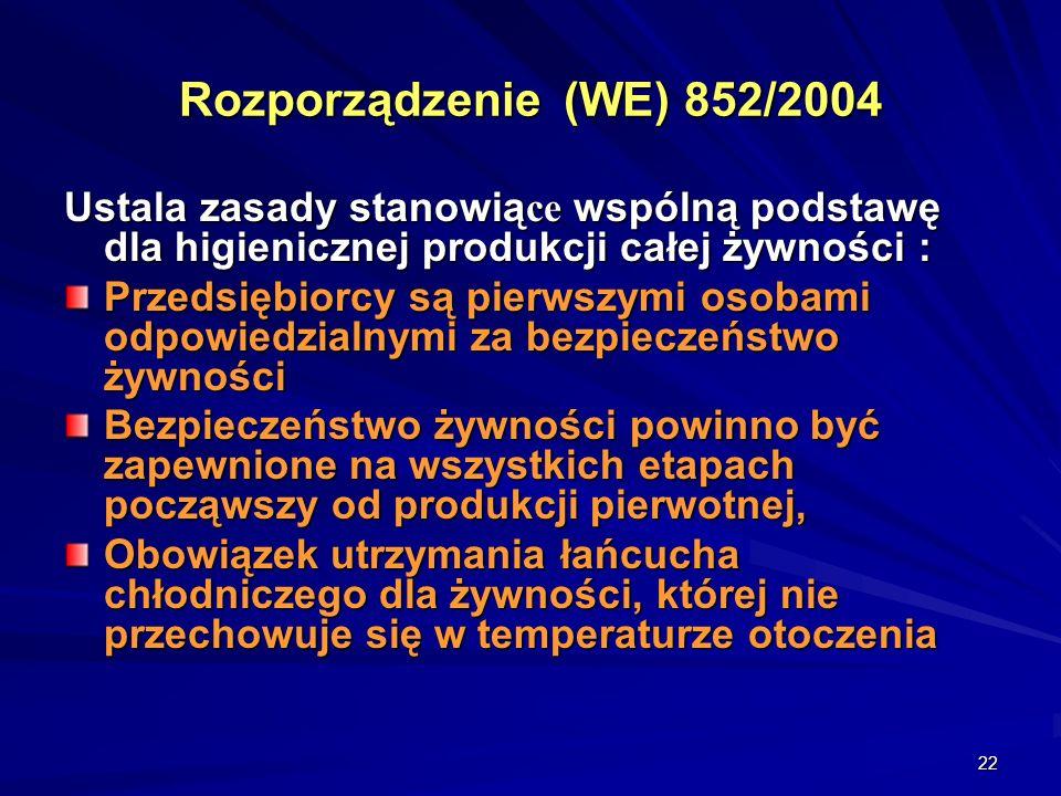 Rozporządzenie (WE) 852/2004 Ustala zasady stanowiące wspólną podstawę dla higienicznej produkcji całej żywności :