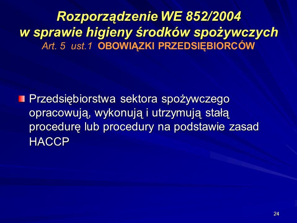 Rozporządzenie WE 852/2004 w sprawie higieny środków spożywczych Art