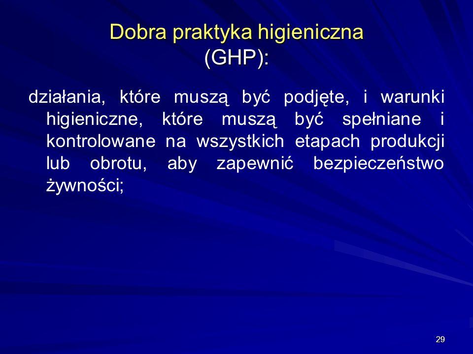 Dobra praktyka higieniczna (GHP):
