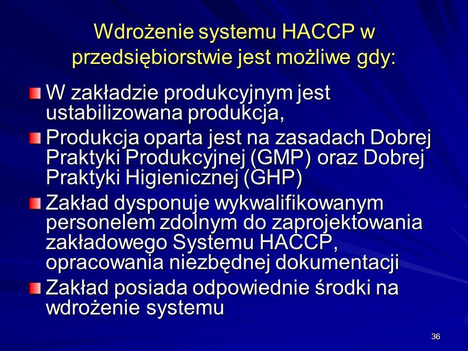 Wdrożenie systemu HACCP w przedsiębiorstwie jest możliwe gdy: