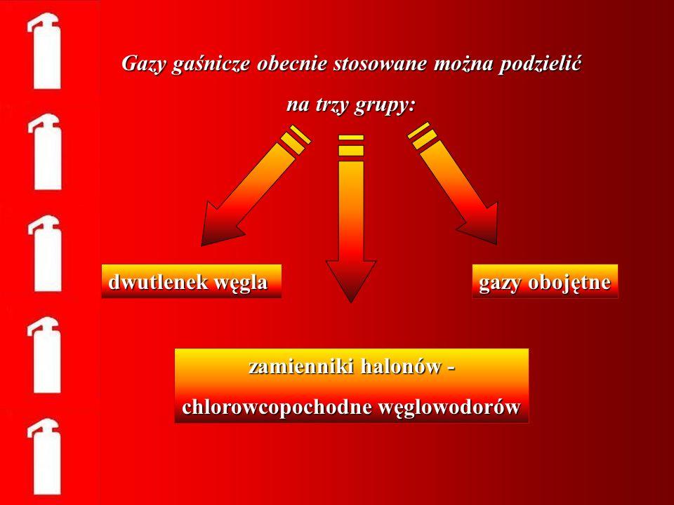 Gazy gaśnicze obecnie stosowane można podzielić na trzy grupy: