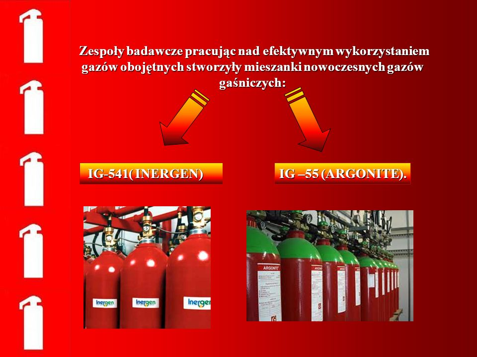 Zespoły badawcze pracując nad efektywnym wykorzystaniem gazów obojętnych stworzyły mieszanki nowoczesnych gazów gaśniczych:
