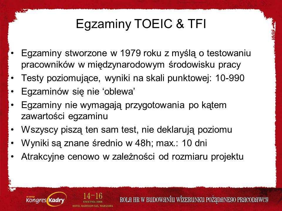 Egzaminy TOEIC & TFI Egzaminy stworzone w 1979 roku z myślą o testowaniu pracowników w międzynarodowym środowisku pracy.