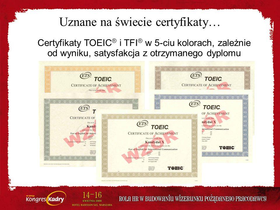 Uznane na świecie certyfikaty…