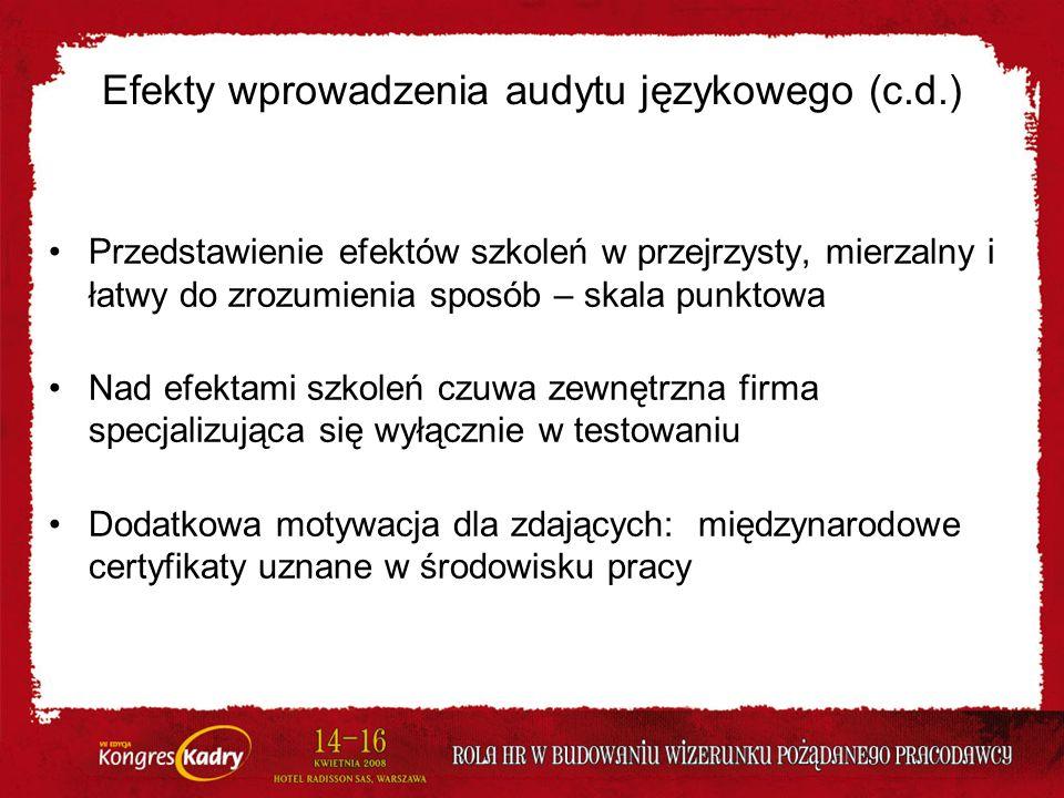 Efekty wprowadzenia audytu językowego (c.d.)