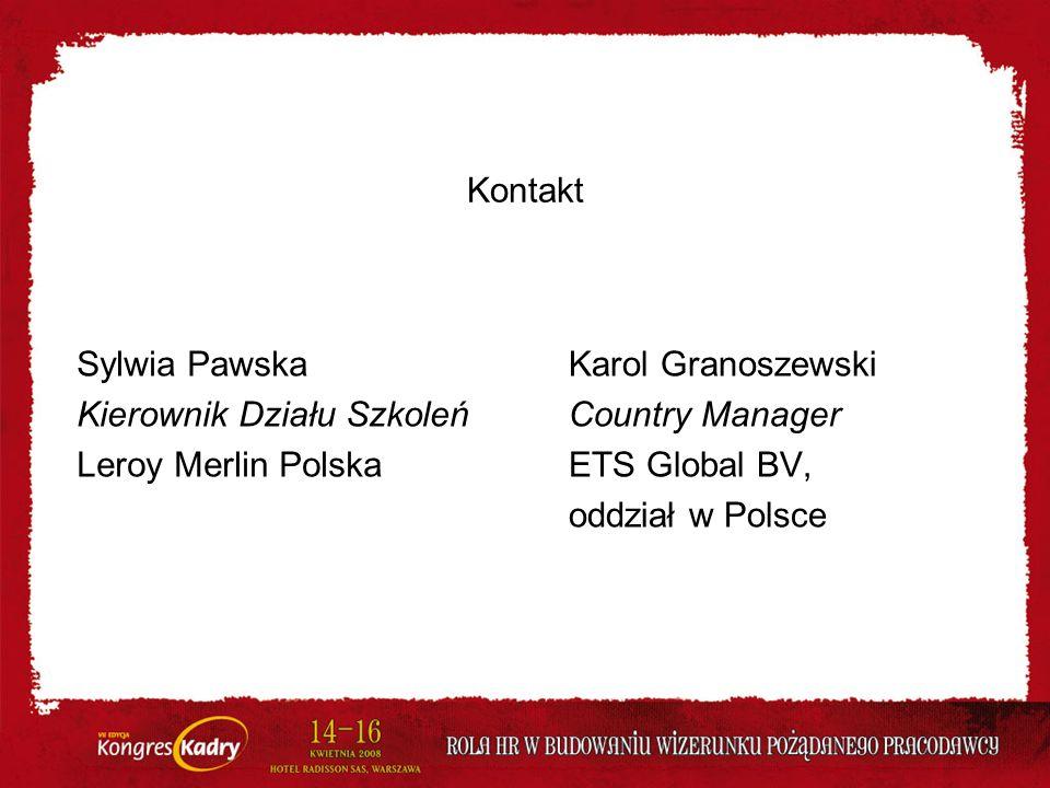 Kontakt Sylwia Pawska. Kierownik Działu Szkoleń. Leroy Merlin Polska. Karol Granoszewski. Country Manager.