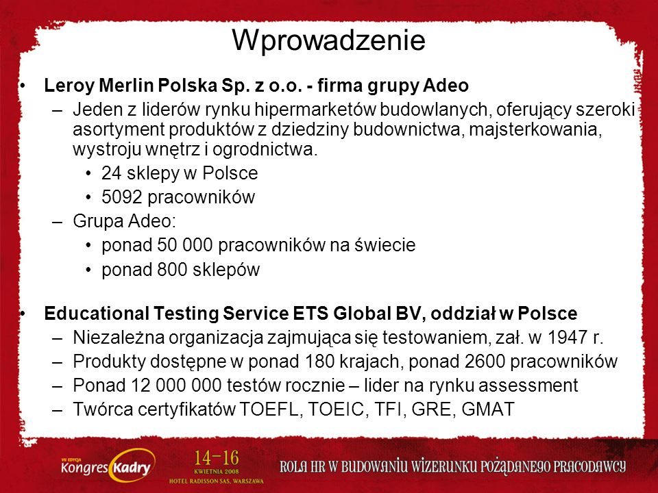 Wprowadzenie Leroy Merlin Polska Sp. z o.o. - firma grupy Adeo