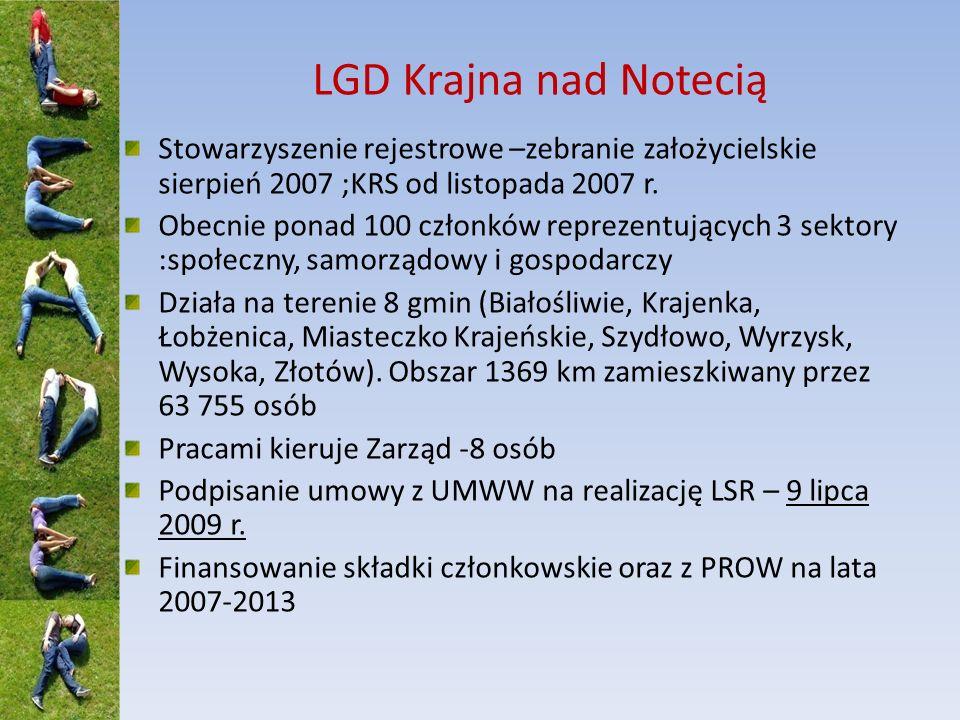 LGD Krajna nad Notecią Stowarzyszenie rejestrowe –zebranie założycielskie sierpień 2007 ;KRS od listopada 2007 r.