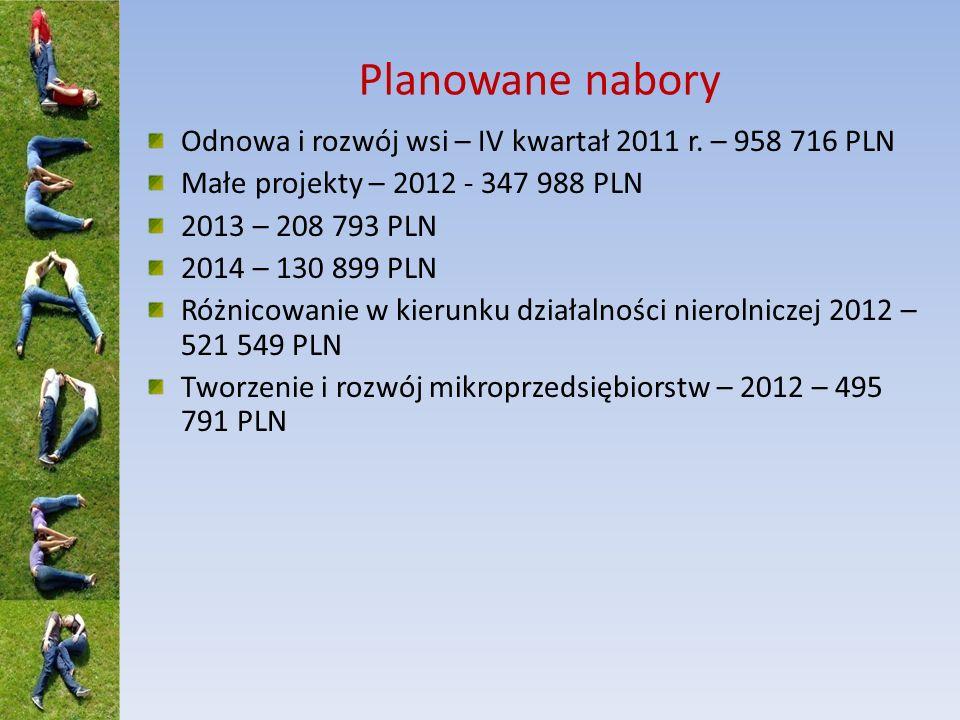 Planowane nabory Odnowa i rozwój wsi – IV kwartał 2011 r. – 958 716 PLN. Małe projekty – 2012 - 347 988 PLN.