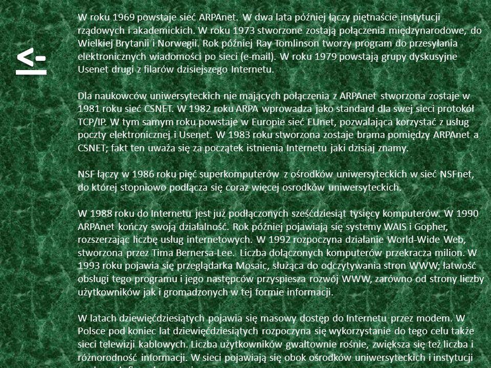 W roku 1969 powstaje sieć ARPAnet
