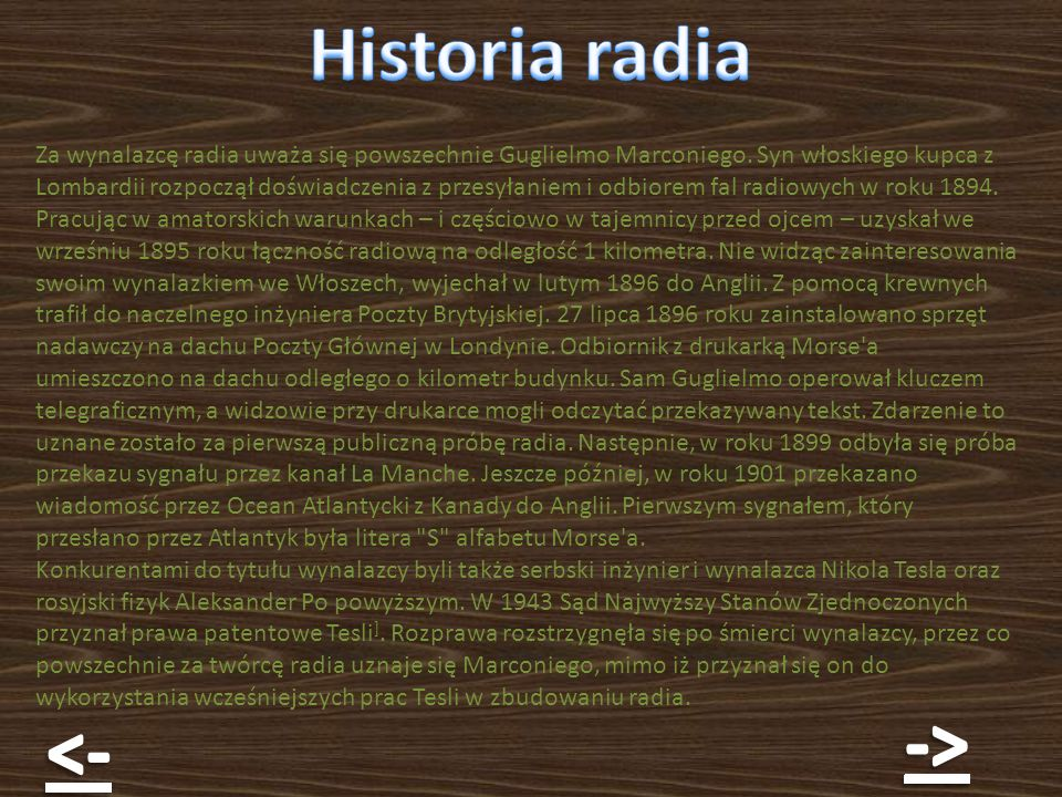 Historia radia -> <-