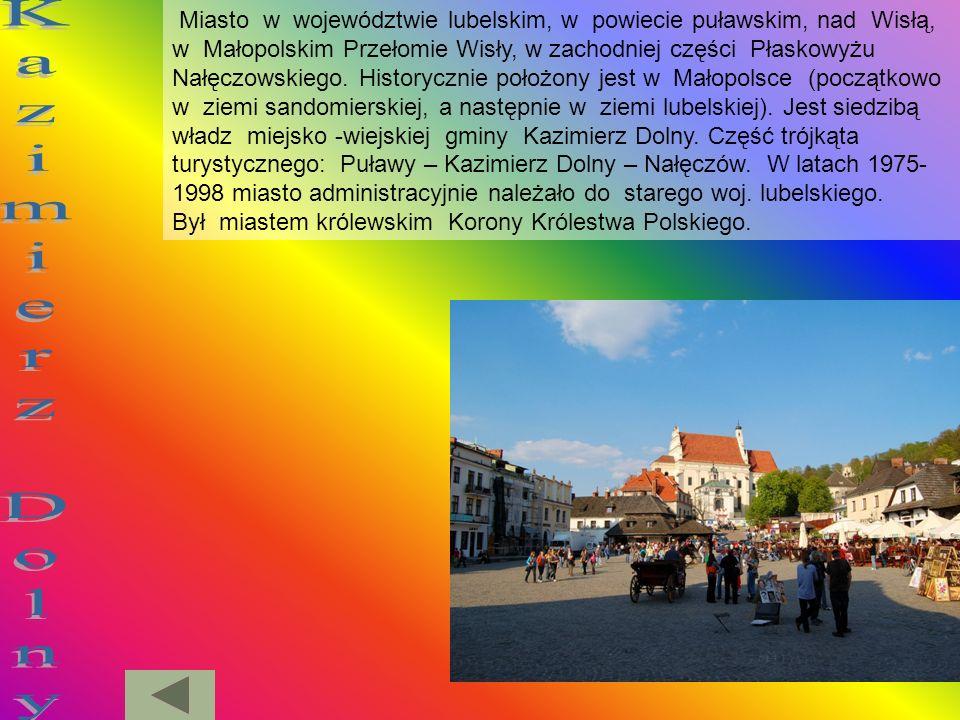 Miasto w województwie lubelskim, w powiecie puławskim, nad Wisłą, w Małopolskim Przełomie Wisły, w zachodniej części Płaskowyżu Nałęczowskiego. Historycznie położony jest w Małopolsce (początkowo w ziemi sandomierskiej, a następnie w ziemi lubelskiej). Jest siedzibą władz miejsko -wiejskiej gminy Kazimierz Dolny. Część trójkąta turystycznego: Puławy – Kazimierz Dolny – Nałęczów. W latach 1975-1998 miasto administracyjnie należało do starego woj. lubelskiego. Był miastem królewskim Korony Królestwa Polskiego.