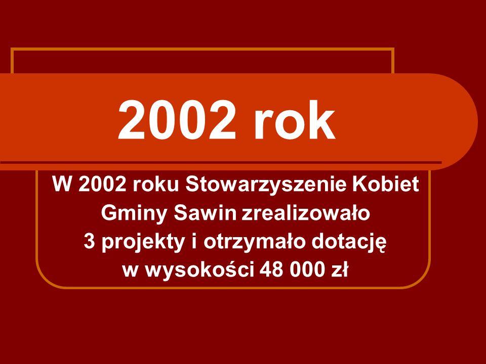 2002 rok W 2002 roku Stowarzyszenie Kobiet Gminy Sawin zrealizowało