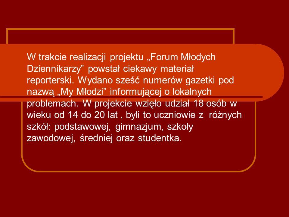 """W trakcie realizacji projektu """"Forum Młodych Dziennikarzy powstał ciekawy materiał reporterski."""