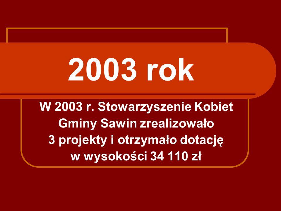 2003 rok W 2003 r. Stowarzyszenie Kobiet Gminy Sawin zrealizowało