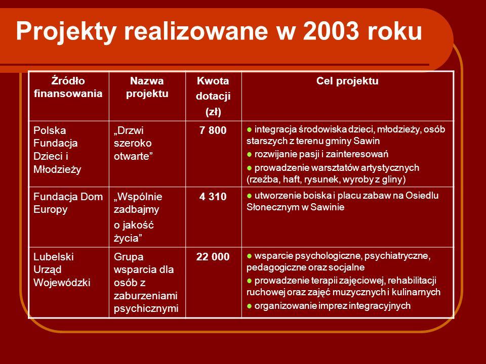 Projekty realizowane w 2003 roku