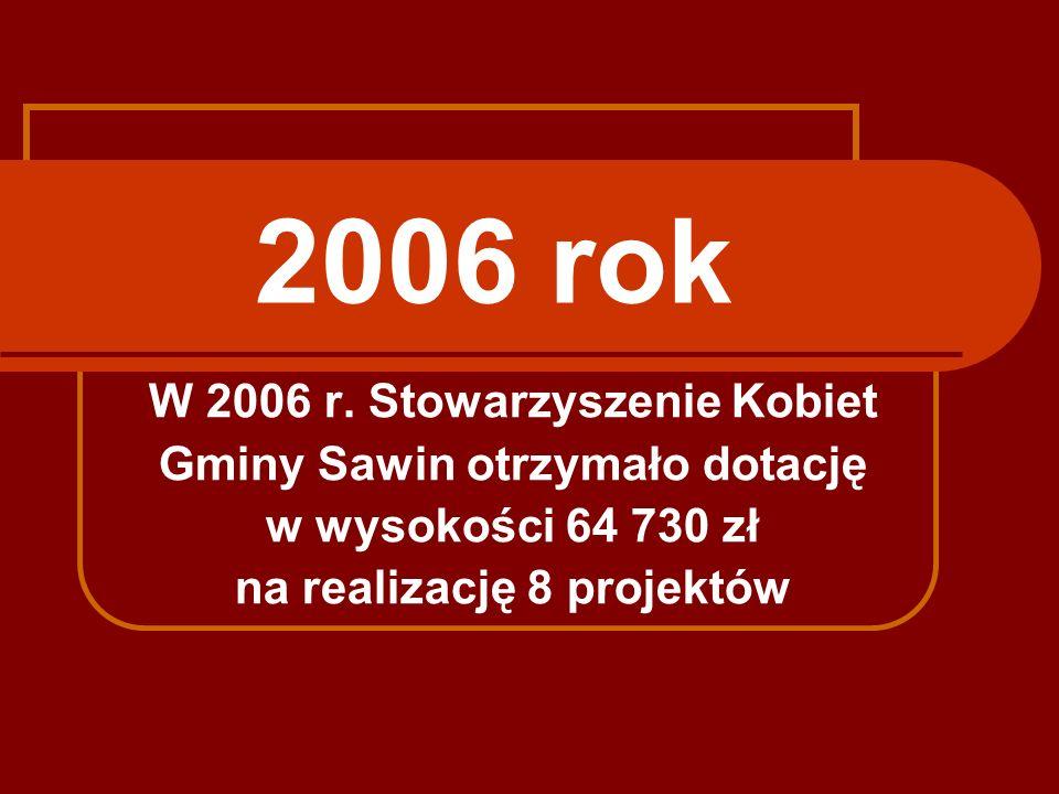 2006 rok W 2006 r. Stowarzyszenie Kobiet Gminy Sawin otrzymało dotację