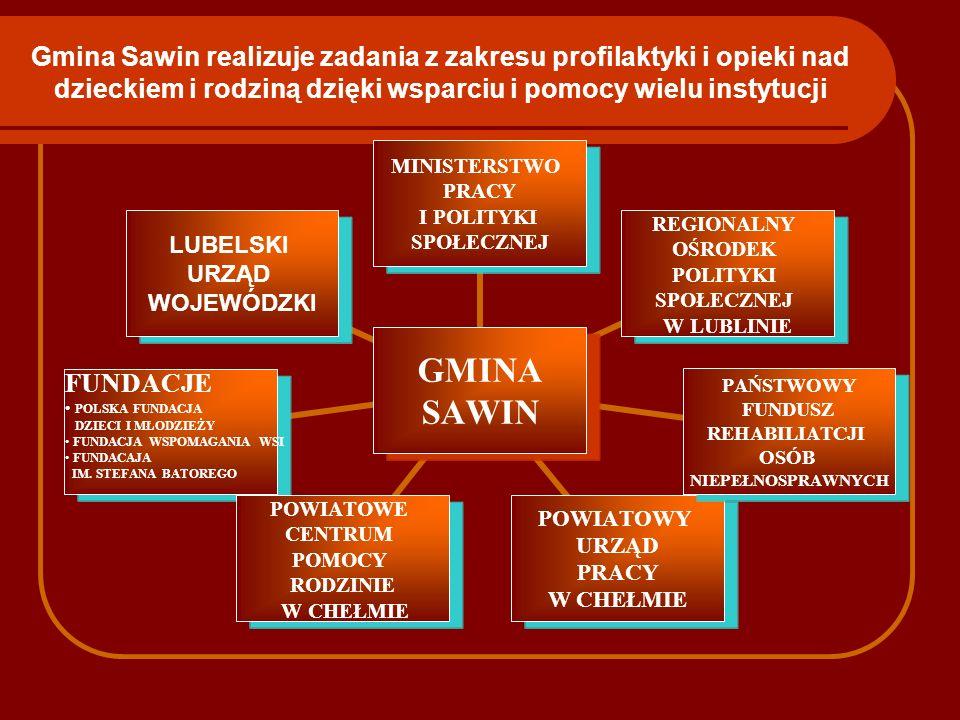 Gmina Sawin realizuje zadania z zakresu profilaktyki i opieki nad dzieckiem i rodziną dzięki wsparciu i pomocy wielu instytucji