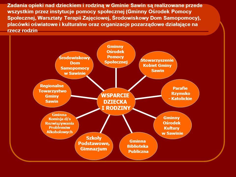 Zadania opieki nad dzieckiem i rodziną w Gminie Sawin są realizowane przede wszystkim przez instytucje pomocy społecznej (Gminny Ośrodek Pomocy Społecznej, Warsztaty Terapii Zajęciowej, Środowiskowy Dom Samopomocy), placówki oświatowe i kulturalne oraz organizacje pozarządowe działające na rzecz rodzin