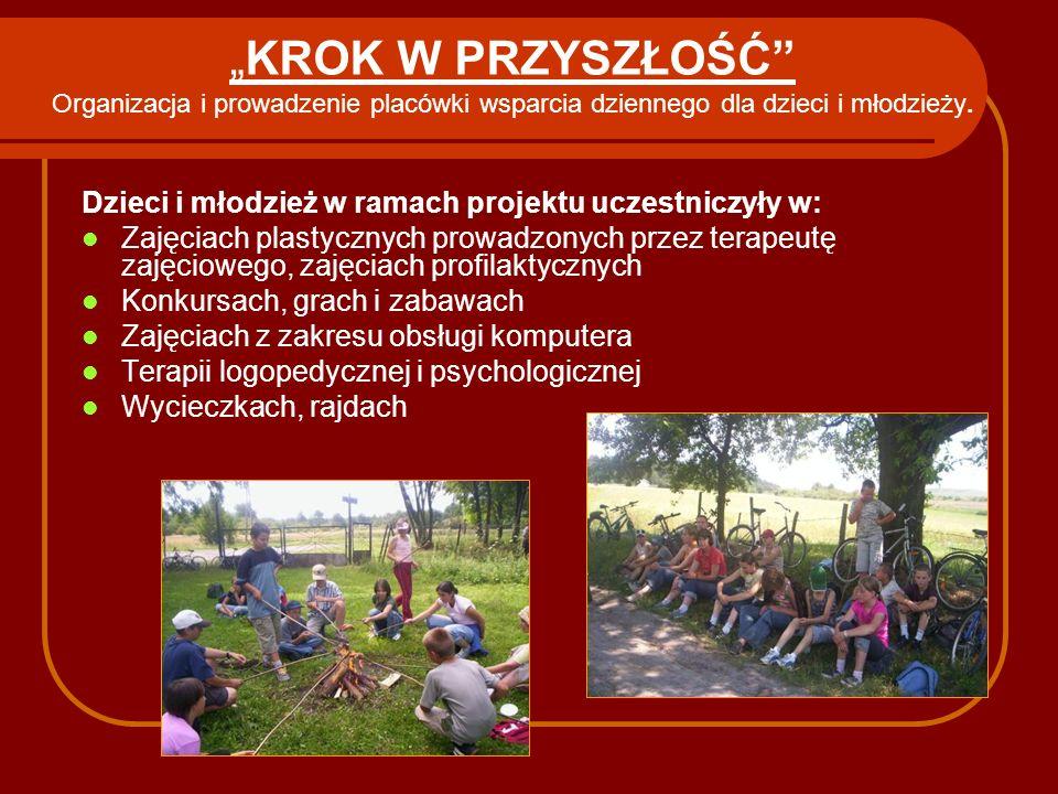 """""""KROK W PRZYSZŁOŚĆ Organizacja i prowadzenie placówki wsparcia dziennego dla dzieci i młodzieży."""
