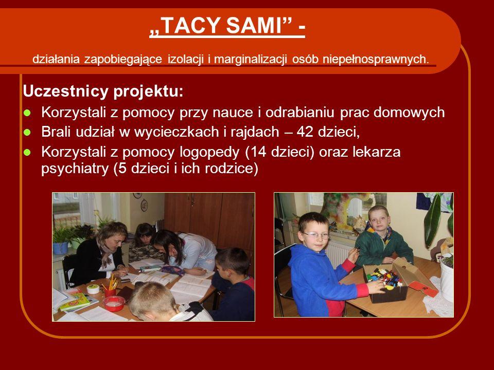"""""""TACY SAMI - działania zapobiegające izolacji i marginalizacji osób niepełnosprawnych."""