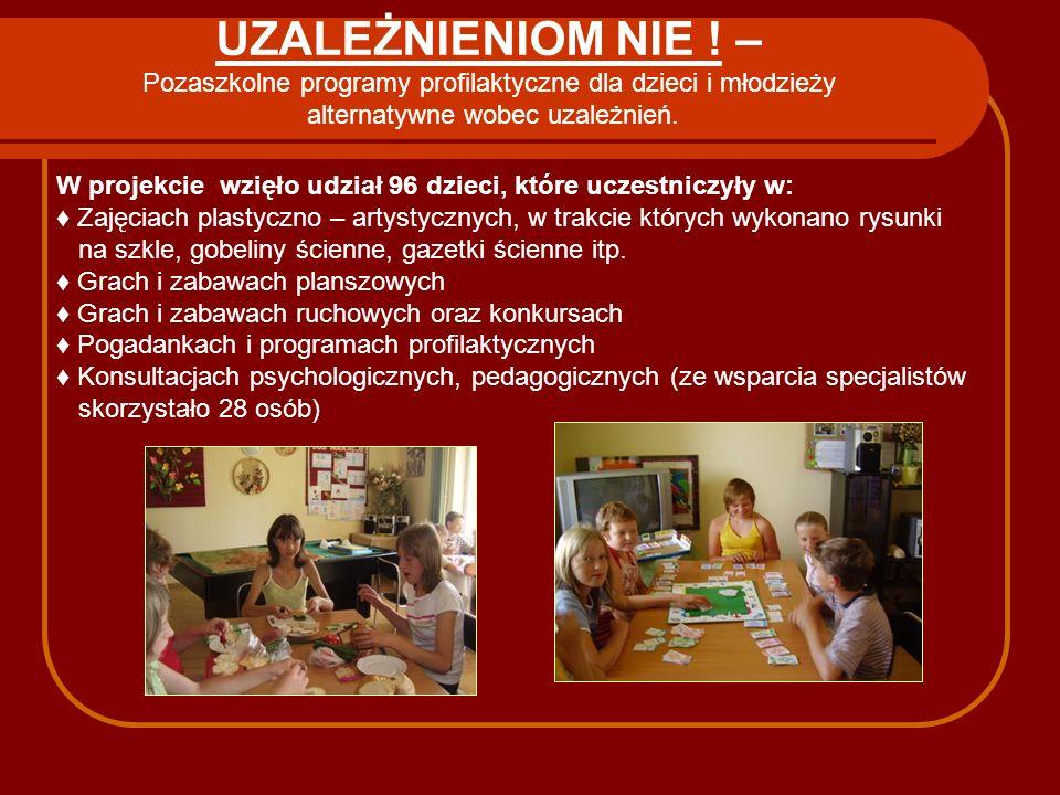 UZALEŻNIENIOM NIE ! – Pozaszkolne programy profilaktyczne dla dzieci i młodzieży alternatywne wobec uzależnień.