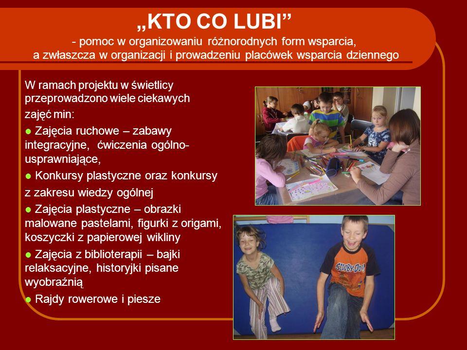 """""""KTO CO LUBI - pomoc w organizowaniu różnorodnych form wsparcia, a zwłaszcza w organizacji i prowadzeniu placówek wsparcia dziennego"""