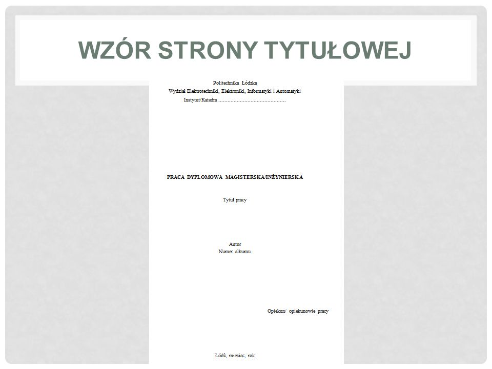Wzór strony tytułowej