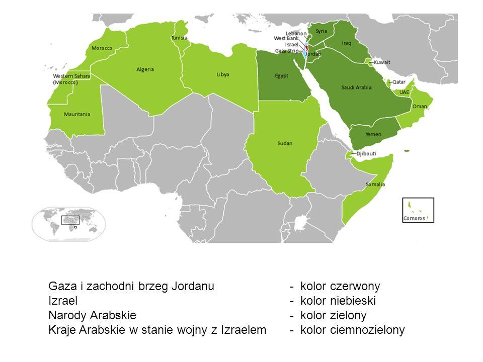 Gaza i zachodni brzeg Jordanu - kolor czerwony. Izrael - kolor niebieski.