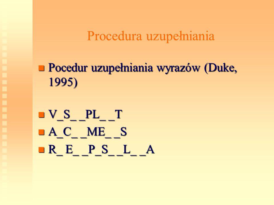 Procedura uzupełniania