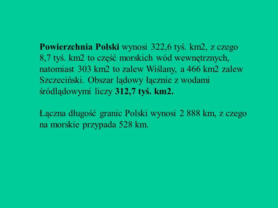 Powierzchnia Polski wynosi 322,6 tyś. km2, z czego 8,7 tyś