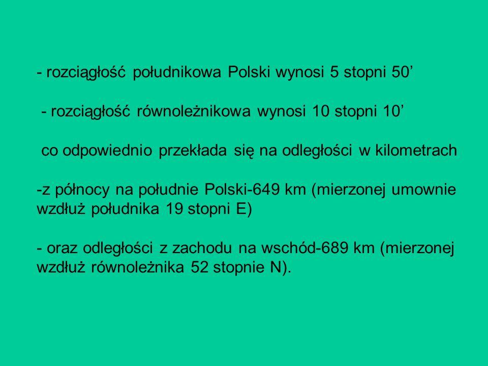 - rozciągłość południkowa Polski wynosi 5 stopni 50'