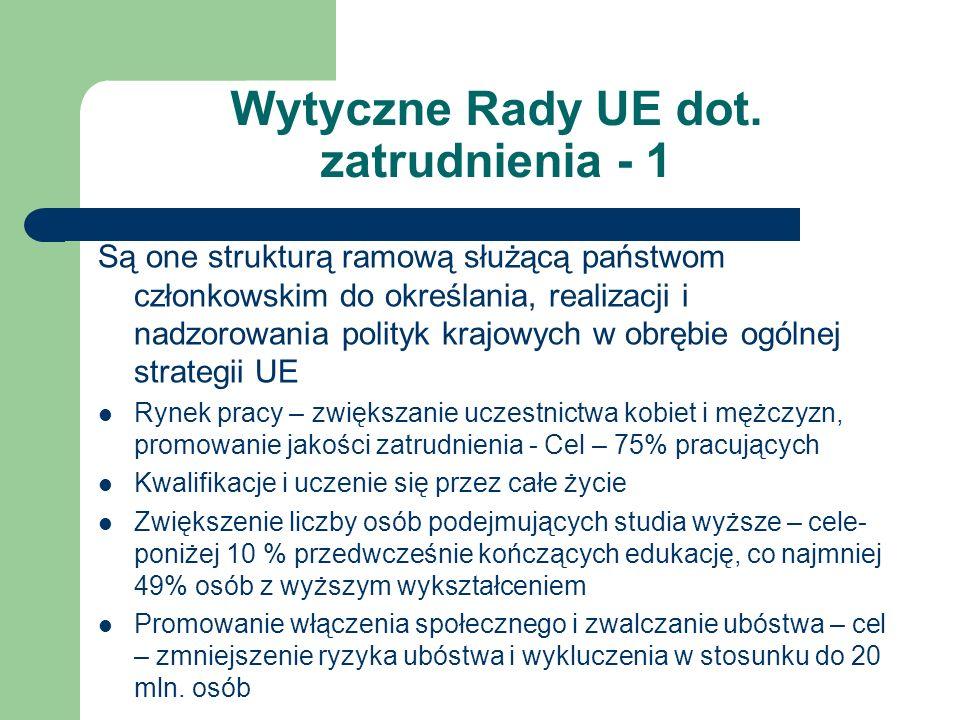 Wytyczne Rady UE dot. zatrudnienia - 1